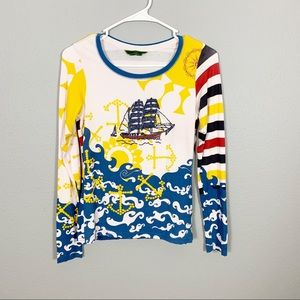 Anthropologie Anchor Sailboat Long Sleeve Top